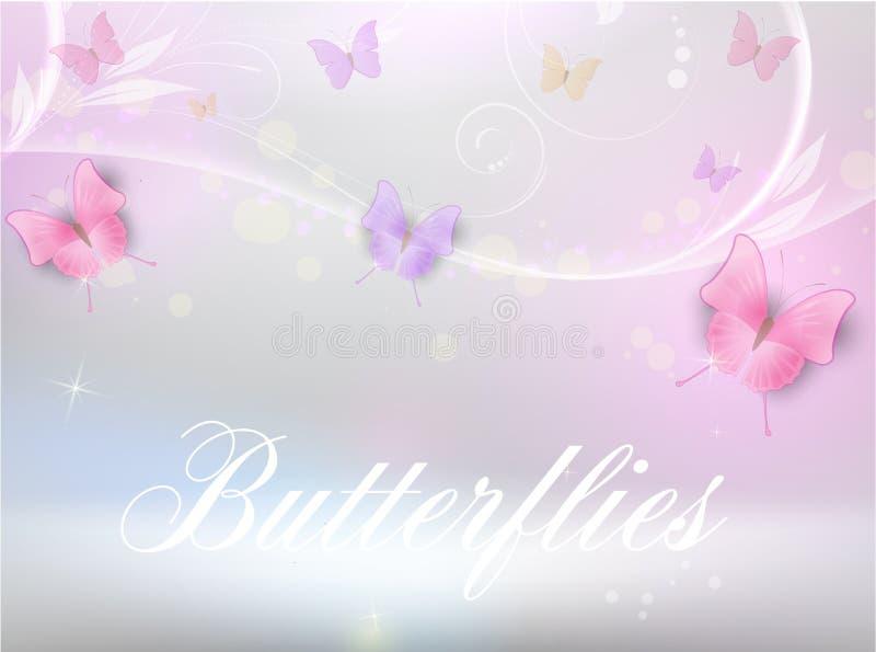 Abstrakcjonistyczny tło z kwiecistym i motylami royalty ilustracja