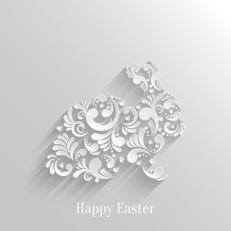 Abstrakcjonistyczny tło z Kwiecistym Wielkanocnym królikiem ilustracja wektor