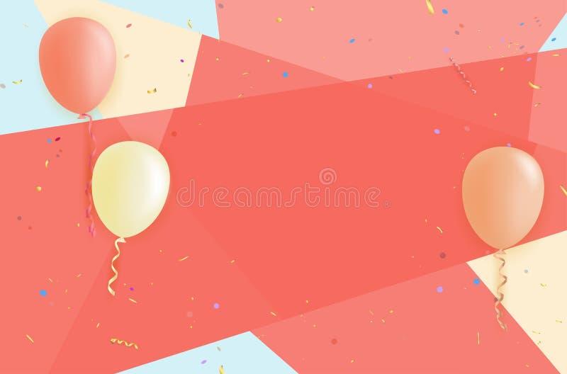 Abstrakcjonistyczny tło z lotniczymi balonami i confetti royalty ilustracja