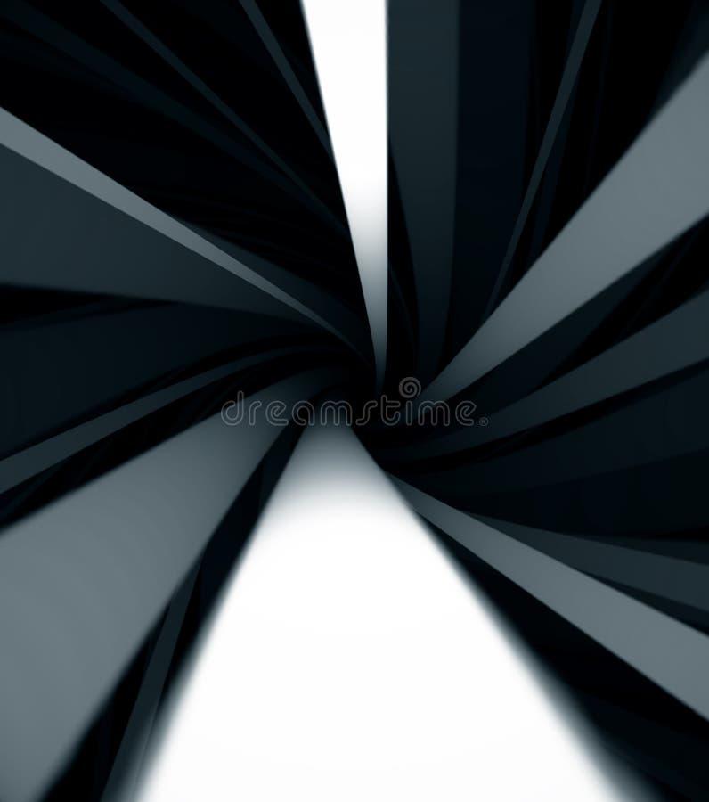 Abstrakcjonistyczny tło z monochromatycznym przędzalnianym helix, kręceni szerocy czarny i biały lampasy druk Wyginać się linie k ilustracja wektor
