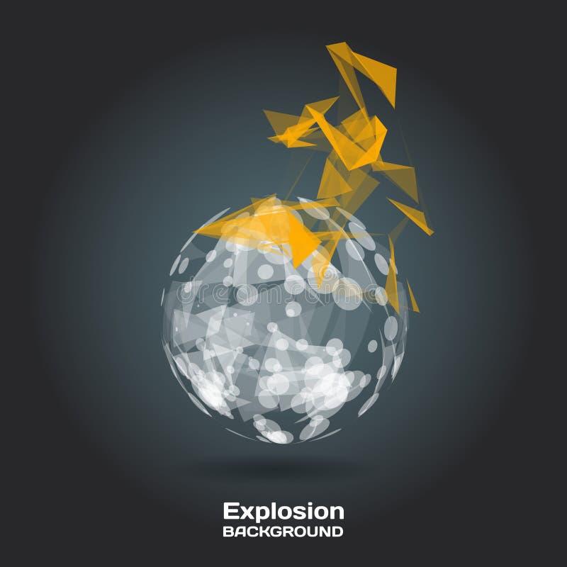 Abstrakcjonistyczny tło z płonącą sferą na temacie cyfrowym ilustracji