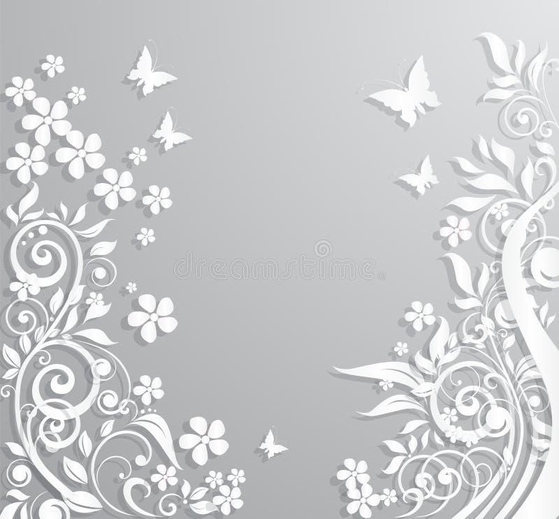 Abstrakcjonistyczny tło z papierowymi kwiatami i motylami ilustracja wektor