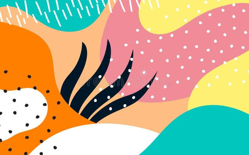 Abstrakcjonistyczny tło z ręki rysować teksturami, Memphis styl ilustracji