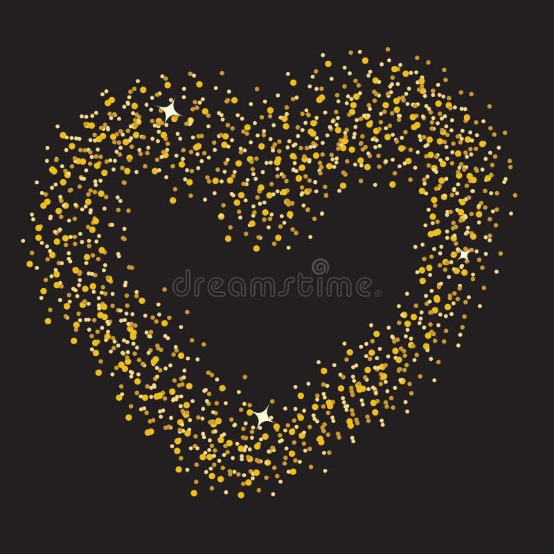 Abstrakcjonistyczny tło z sercem od olśniewających gwiazd ilustracja wektor