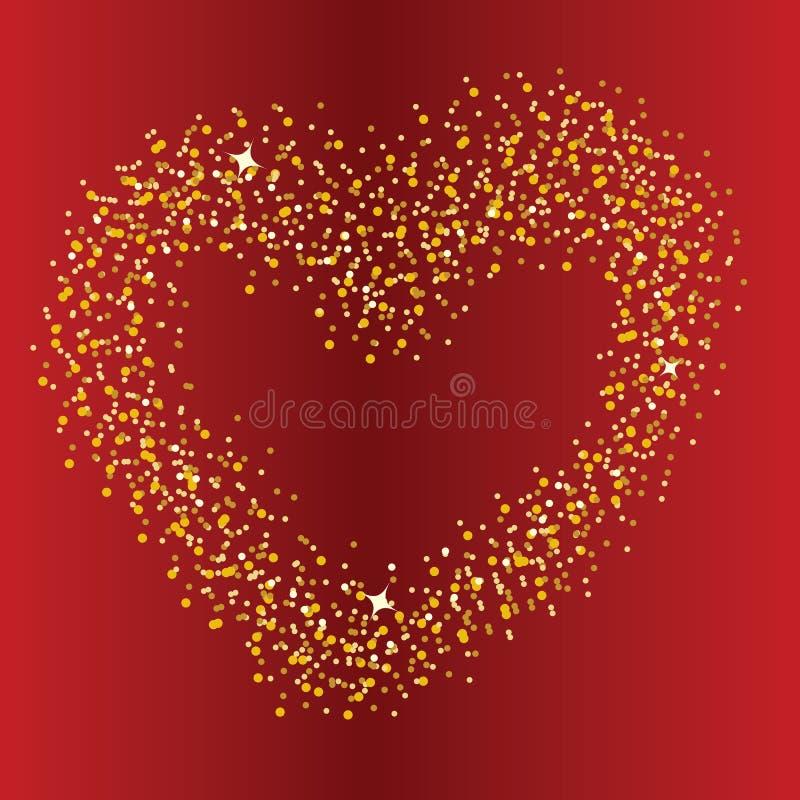 Abstrakcjonistyczny tło z sercem od olśniewających gwiazd royalty ilustracja