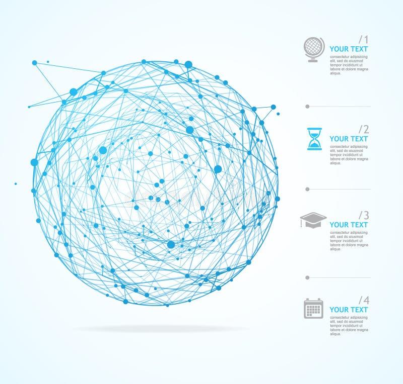 Abstrakcjonistyczny tło z sferą i Infographic ilustracja wektor