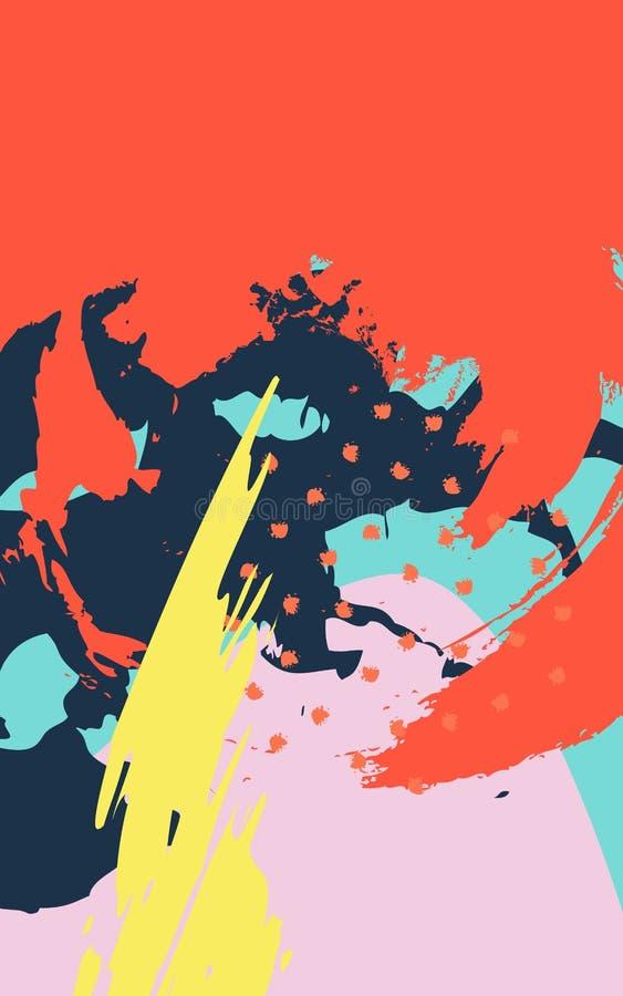 Abstrakcjonistyczny tło z szczotkarskimi uderzeniami w Memphis stylu royalty ilustracja