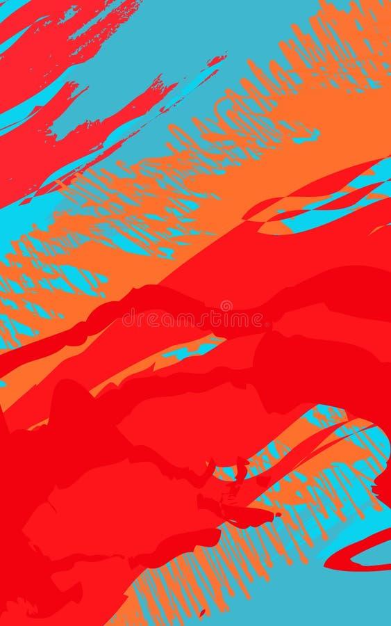 Abstrakcjonistyczny tło z szczotkarskimi uderzeniami w Memphis stylu ilustracja wektor