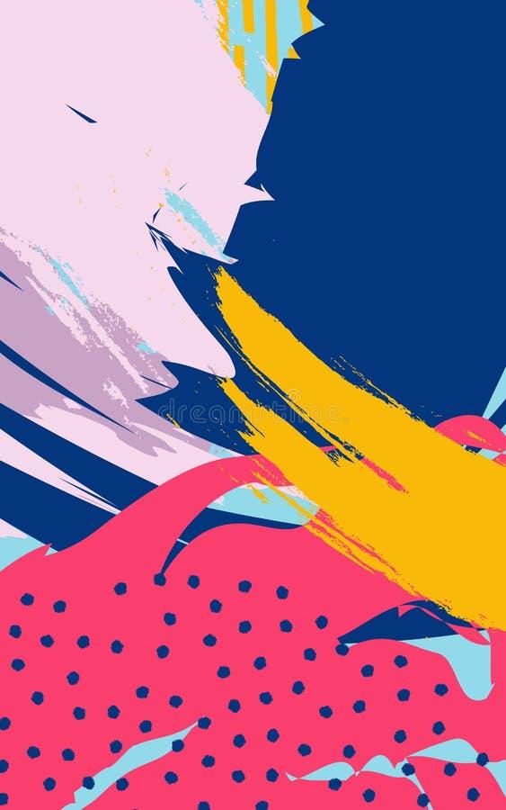 Abstrakcjonistyczny tło z szczotkarskimi uderzeniami w Memphis stylu ilustracji