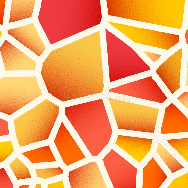 Abstrakcjonistyczny tło z wibrującymi kolorami i retro projektującymi rocznika dotwork gradientami na voronoi siatki płytkach ilustracja wektor