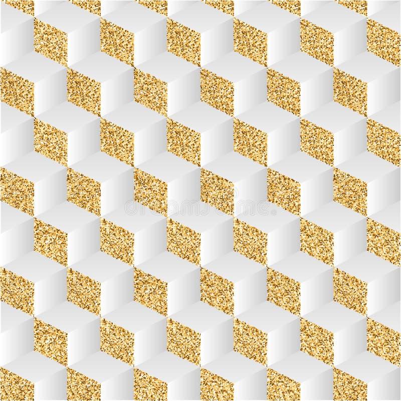 Abstrakcjonistyczny tło z złocistym pyłem i cieniami Sztuka światło i cień szachowy wzór w isometric royalty ilustracja