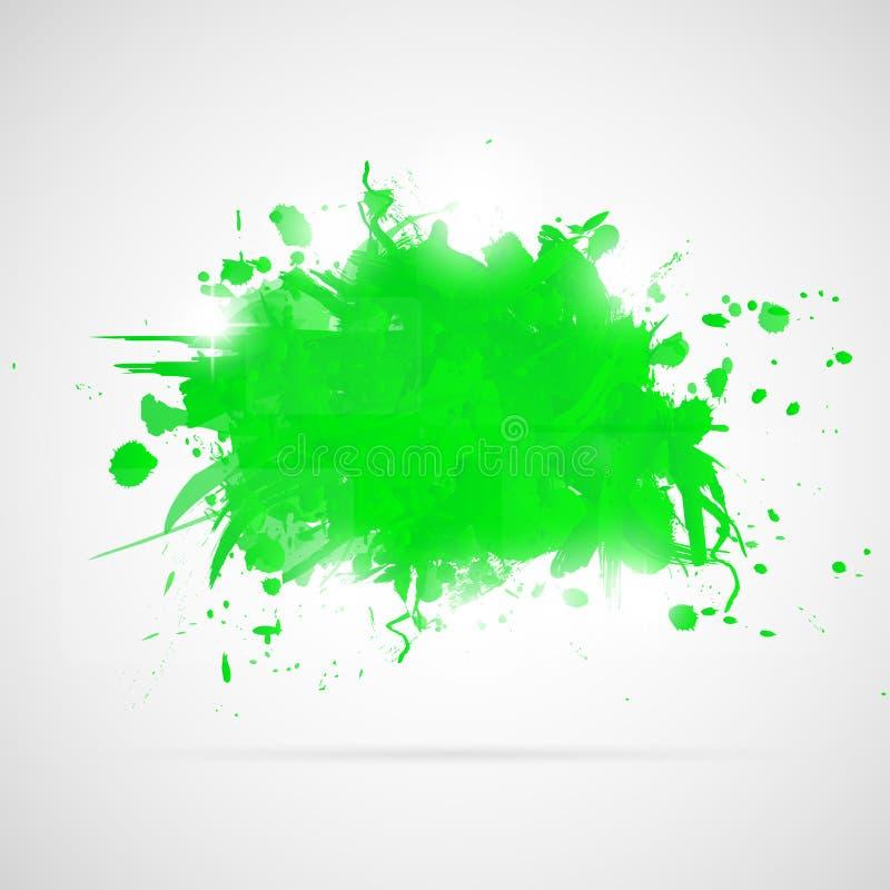 Abstrakcjonistyczny tło z zielonymi farb pluśnięciami. ilustracji