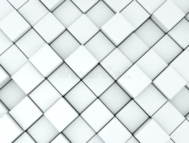 Abstrakcjonistyczny tło zrobił bielowi 3d sześciany ilustracja wektor