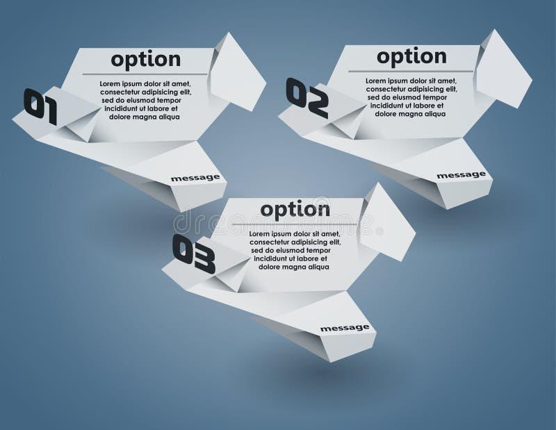 abstrakcjonistyczny t?a b?bla origami mowy wektor royalty ilustracja