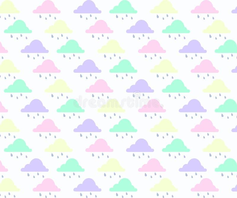 Abstrakcjonistyczny t?o z chmur?, niebem i gwiazd? w pastelowym kolorze, royalty ilustracja
