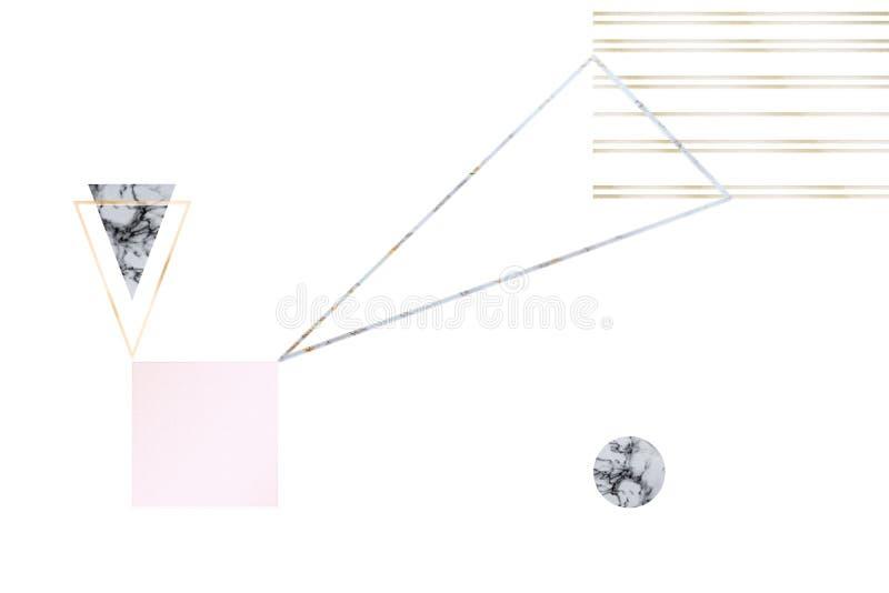 Abstrakcjonistyczny t?o z geometrical postaciami w pastelowych kolor?w z?ocie, lodowisko, popielaty, marmurowy minimalisty styl,  ilustracja wektor