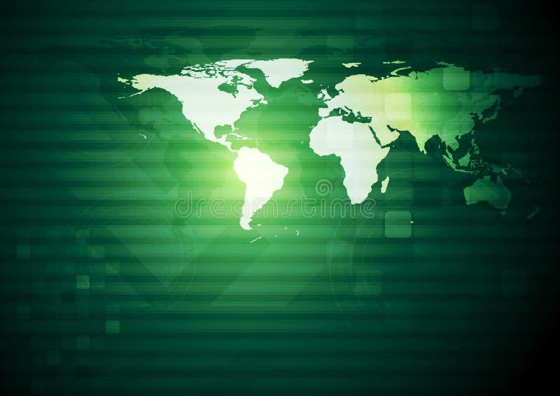 Abstrakcjonistyczny techniczny tło z światową mapą ilustracja wektor