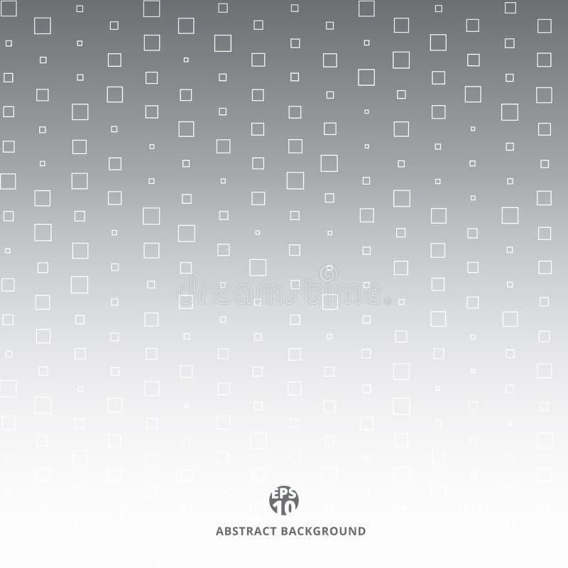 Abstrakcjonistyczny technologia białego kwadrata wzór przypadkowy na szarym halftone ilustracji