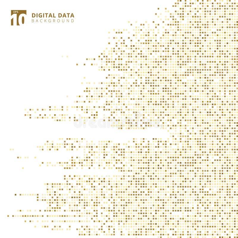 Abstrakcjonistyczny technologia cyfrowych dane kwadrata złota wzoru piksla tło royalty ilustracja
