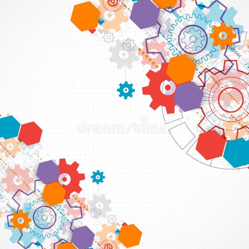 Abstrakcjonistyczny technologiczny tło z cogwheels royalty ilustracja