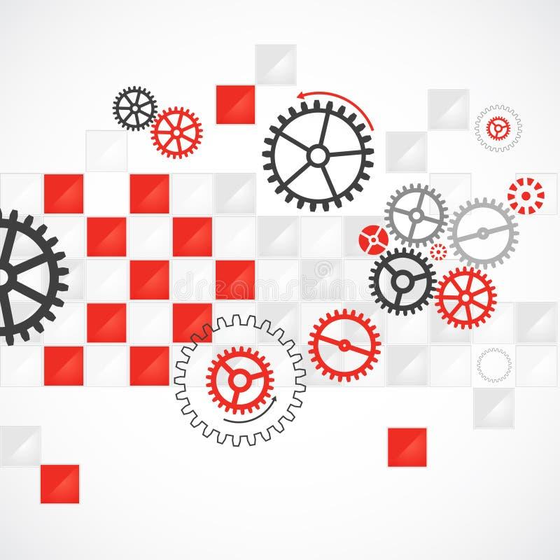 Abstrakcjonistyczny technologiczny tło z różnorodnymi cogwheels royalty ilustracja