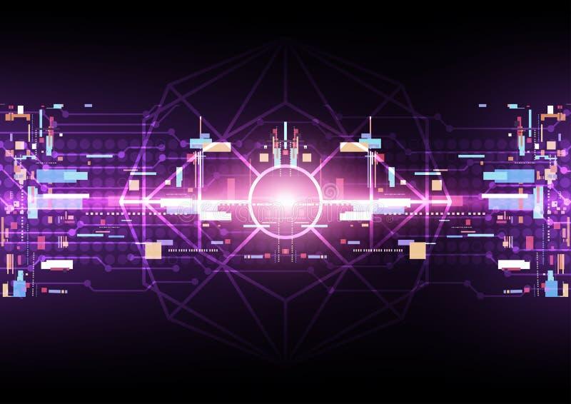 Abstrakcjonistyczny technologii cyfrowej tło, komputerowy programuje proces royalty ilustracja