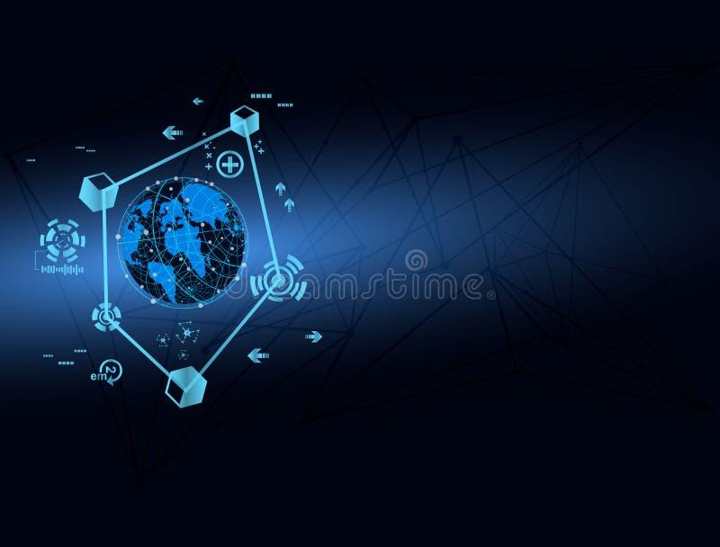Abstrakcjonistyczny technologii globalnej sieci mapy pojęcia wektor ilustracja wektor