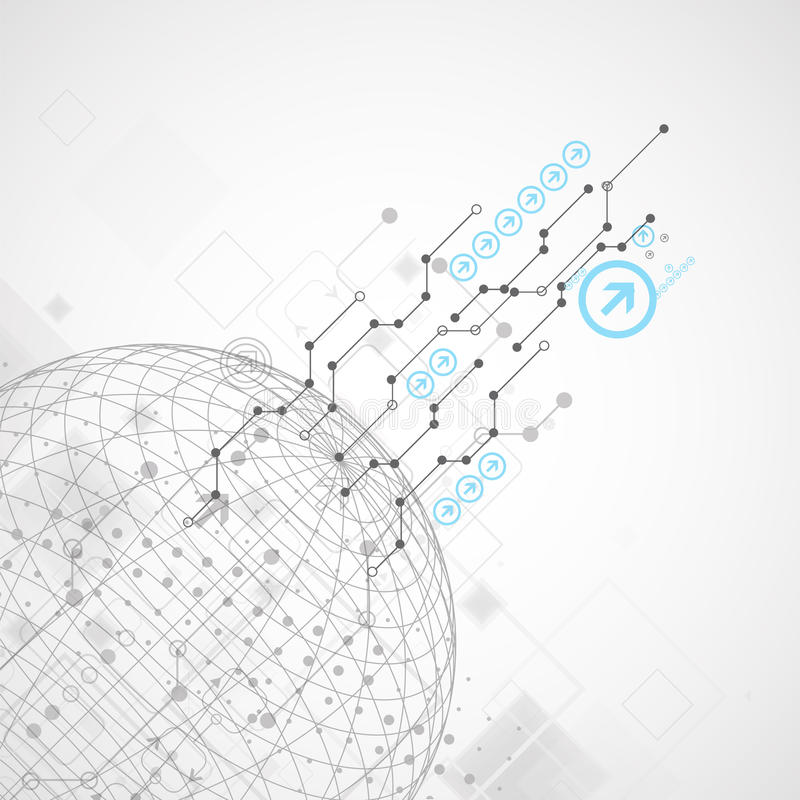 Abstrakcjonistyczny technologii kuli ziemskiej tło ilustracja wektor