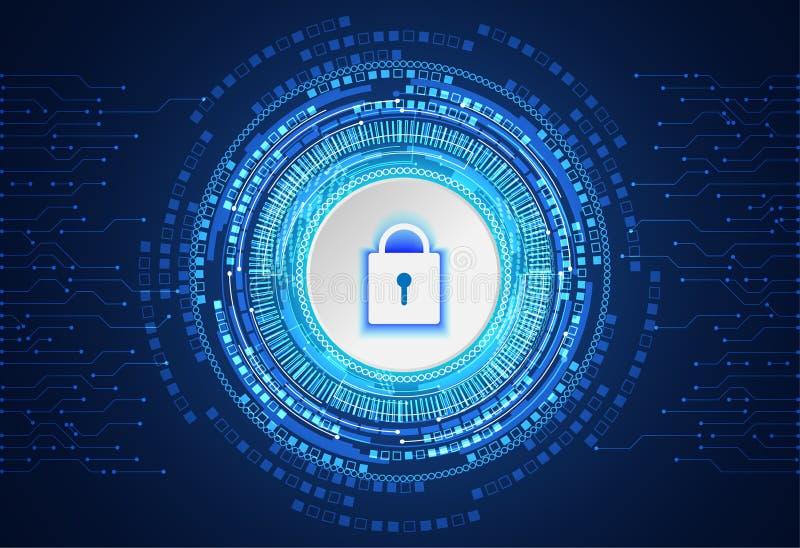 Abstrakcjonistyczny technologii pojęcia cyber ochrony kłódki okręgu biel royalty ilustracja