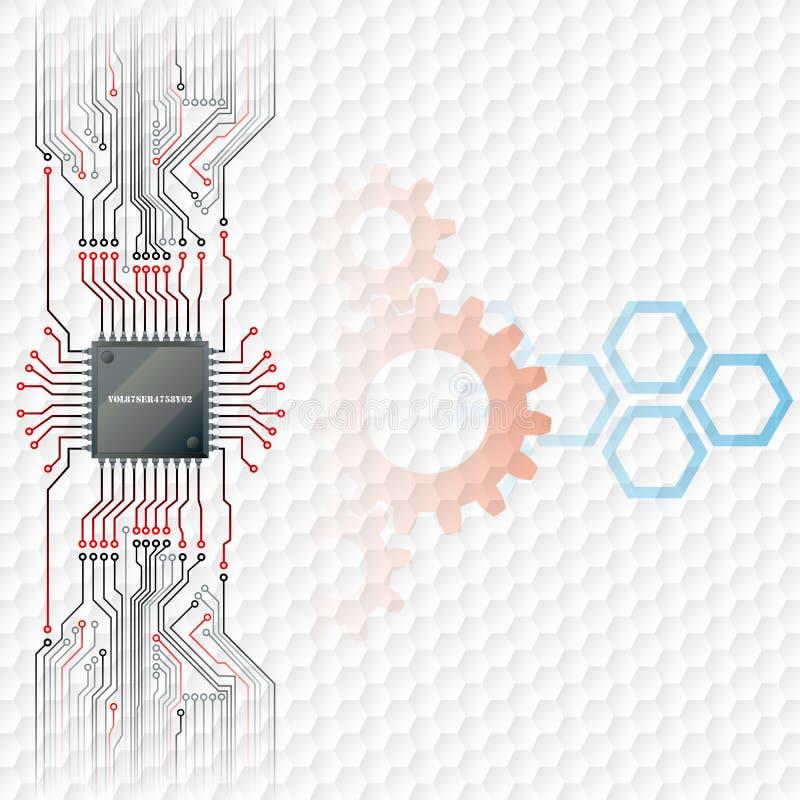 Abstrakcjonistyczny technologii tło; Elektroniczny układ scalony łączący przy obwód deską royalty ilustracja
