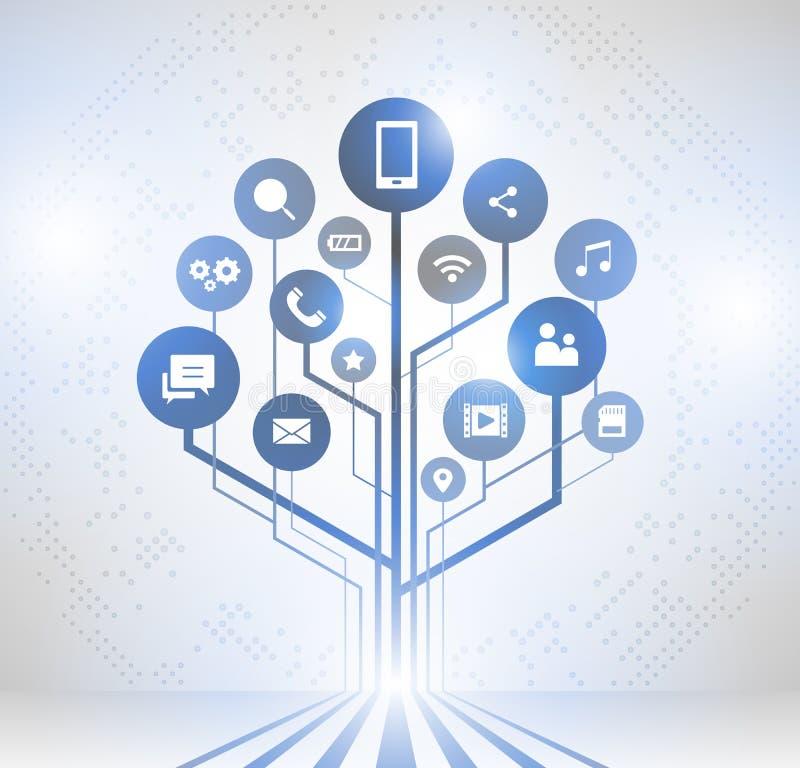 Abstrakcjonistyczny technologii tło z liniami, Wzrostowy drzewo royalty ilustracja