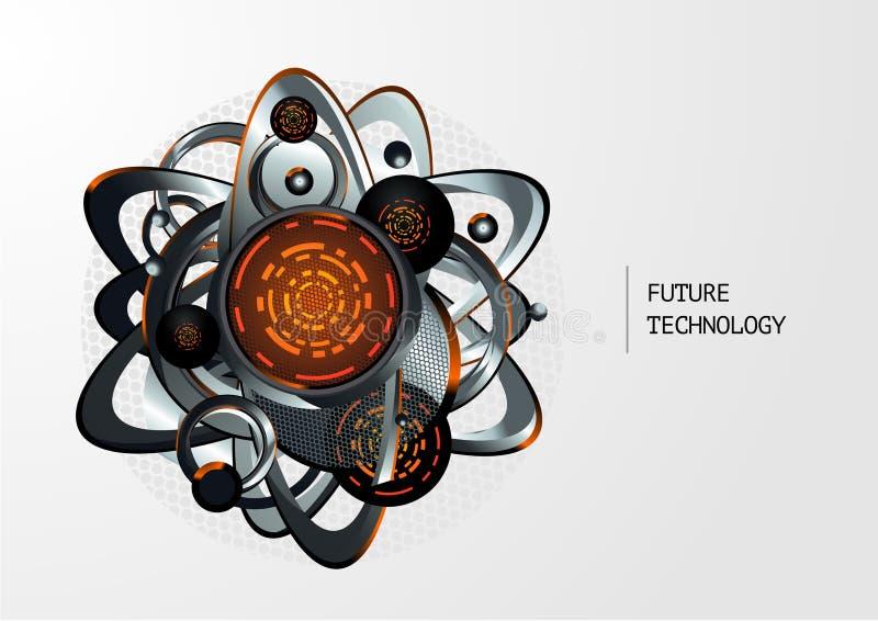 Abstrakcjonistyczny technologii tło z metalu 3d elementami również zwrócić corel ilustracji wektora Futurictic mechanizmu pojęcie royalty ilustracja