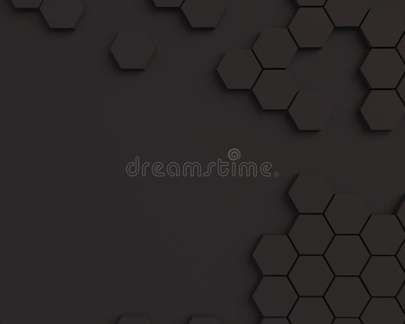 Abstrakcjonistyczny tekstury honeycomb Czarny heksagonalny deseniowy tekstury tło z miejscem dla teksta royalty ilustracja