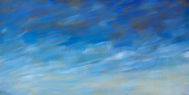 Abstrakcjonistyczny tekstury niebieskiego nieba obrazu olejnego tło Zbliżenie makro- ręka rysująca grafika obrazy royalty free