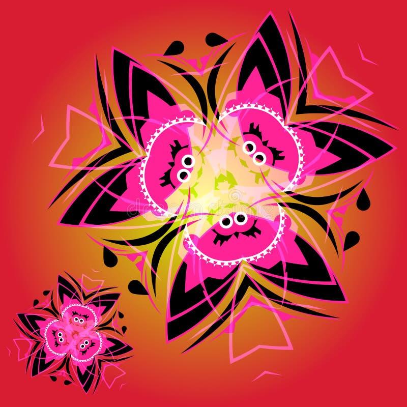 Abstrakcjonistyczny tekstylny bezszwowy wzór czerń i czerwień kwitnie ilustracja wektor