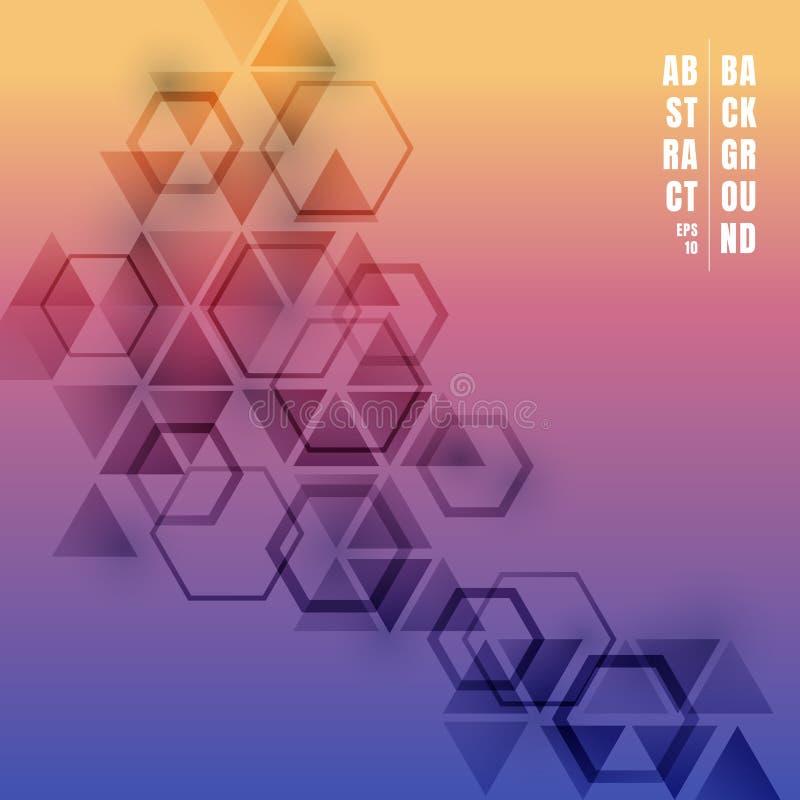 Abstrakcjonistyczny trójboków i sześciokątów gradientowy kolor z cieniem na kolorowym tle Geometryczny deseniowy futurystyczny te royalty ilustracja