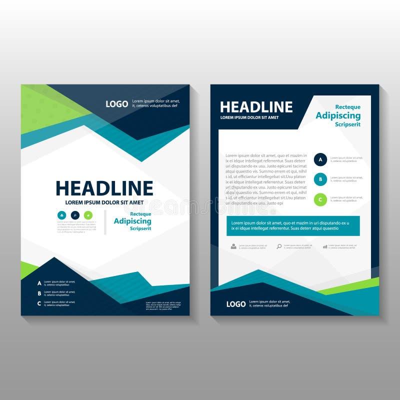 Abstrakcjonistyczny trójbok Błękitnej zieleni wieloboka sprawozdania rocznego ulotki broszurki ulotki szablonu purpurowy projekt, ilustracji