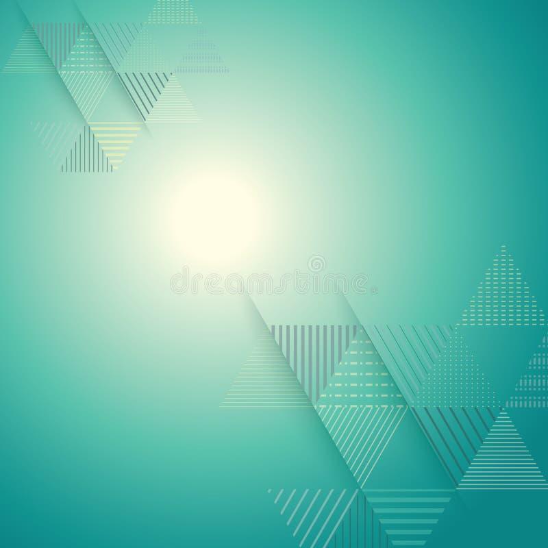 Abstrakcjonistyczny trójbok linii lampasa wzór z jaskrawym lekkim tłem ilustracji