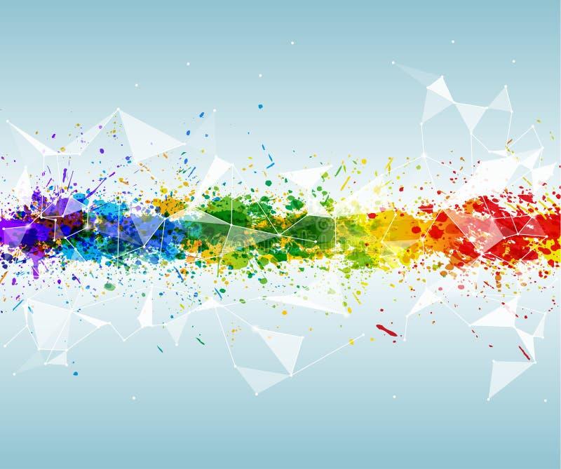 Abstrakcjonistyczny trójgraniasty i futurystyczny tło z wibrującymi kolorami rozbryzguje się farby ilustracja wektor