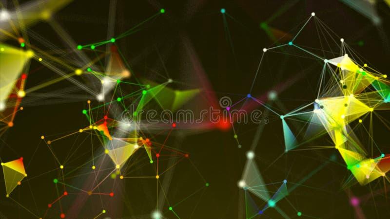 Abstrakcjonistyczny triangulacyjny plexus z związkami w przestrzeni, tło z łączyć kropki i linie, 3d rendering royalty ilustracja