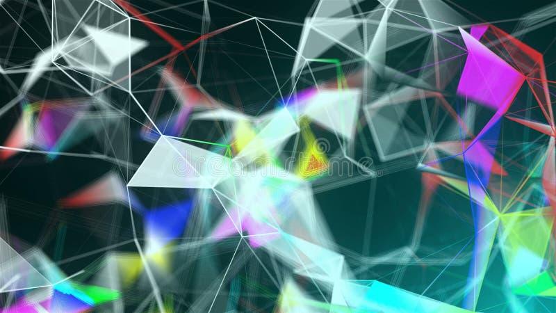 Abstrakcjonistyczny triangulacyjny plexus z związkami w przestrzeni, tło z łączyć kropki i linie, 3d rendering ilustracja wektor