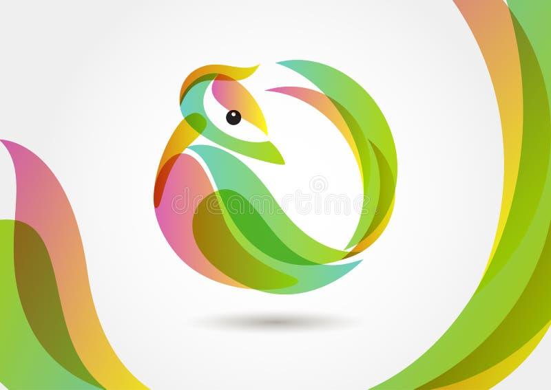 Abstrakcjonistyczny tropikalny ptak na kolorowym tle, loga projekta templ ilustracji