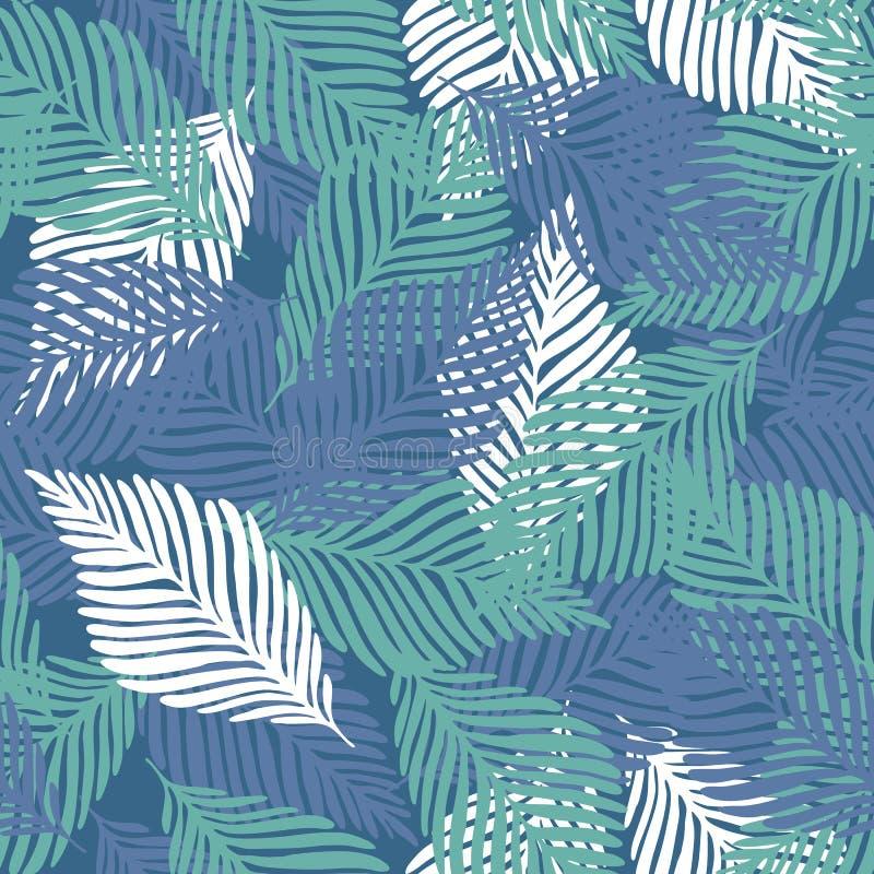Abstrakcjonistyczny tropikalny wz?r, palma opuszcza bezszwowego kwiecistego t?o ilustracja wektor