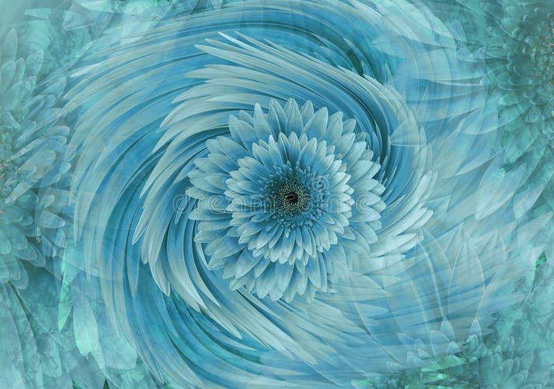 Abstrakcjonistyczny turkusowoniebieski jaskrawy kwiecisty tło Gerbera kwitnie płatka zakończenie 2007 pozdrowienia karty szczęśli royalty ilustracja
