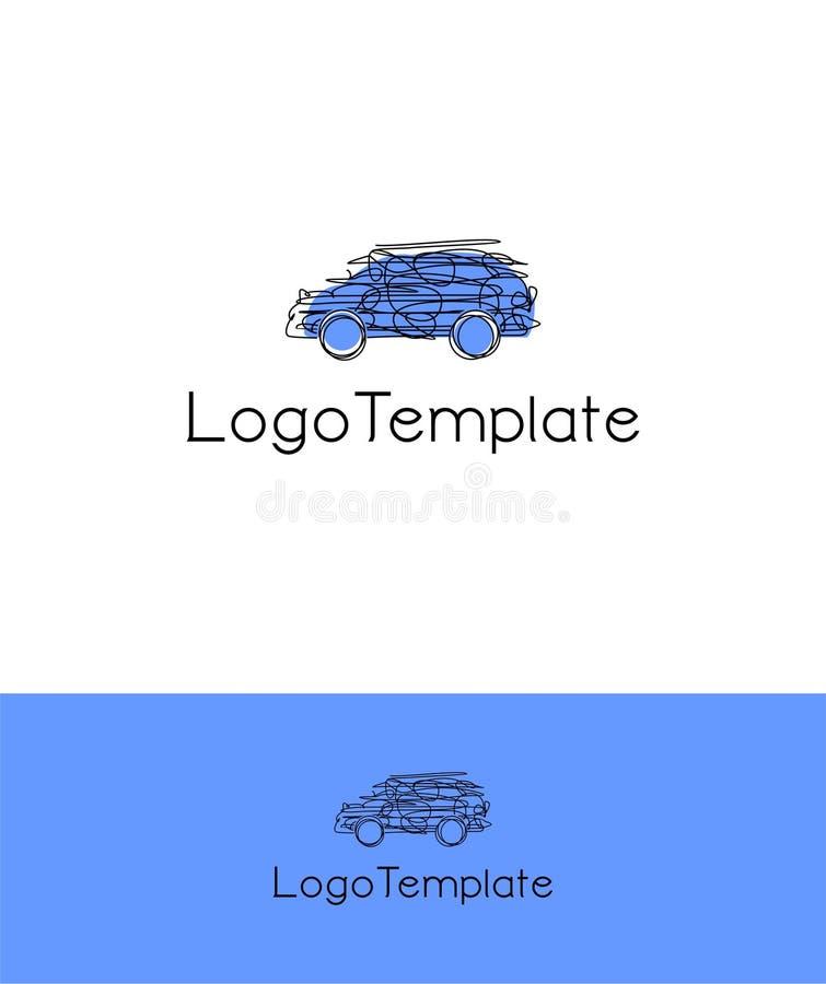 Abstrakcjonistyczny unikalny wektorowy logo szablon dla samochodu odnosić sie biznes fotografia stock