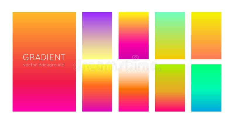 Abstrakcjonistyczny ustawiający jaskrawi gradientowi tła dla mobilnych zastosowań i smartphone ekranu Tła i projekta element wekt ilustracja wektor