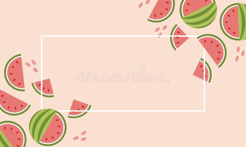 Abstrakcjonistyczny ustawiający z kolorowym lato sprzedaży arbuza sztandarem na różowym tle dla pojęcie projekta ilustracji