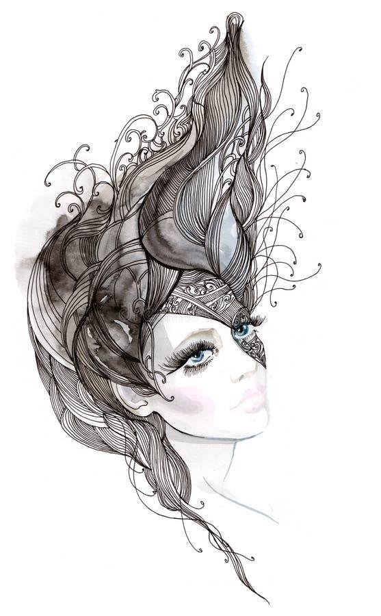 abstrakcjonistyczny włosy ilustracja wektor