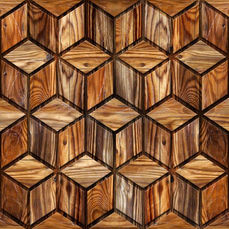 Abstrakcjonistyczny w kratkę wzór drewniana tekstura - bezszwowy tło - royalty ilustracja