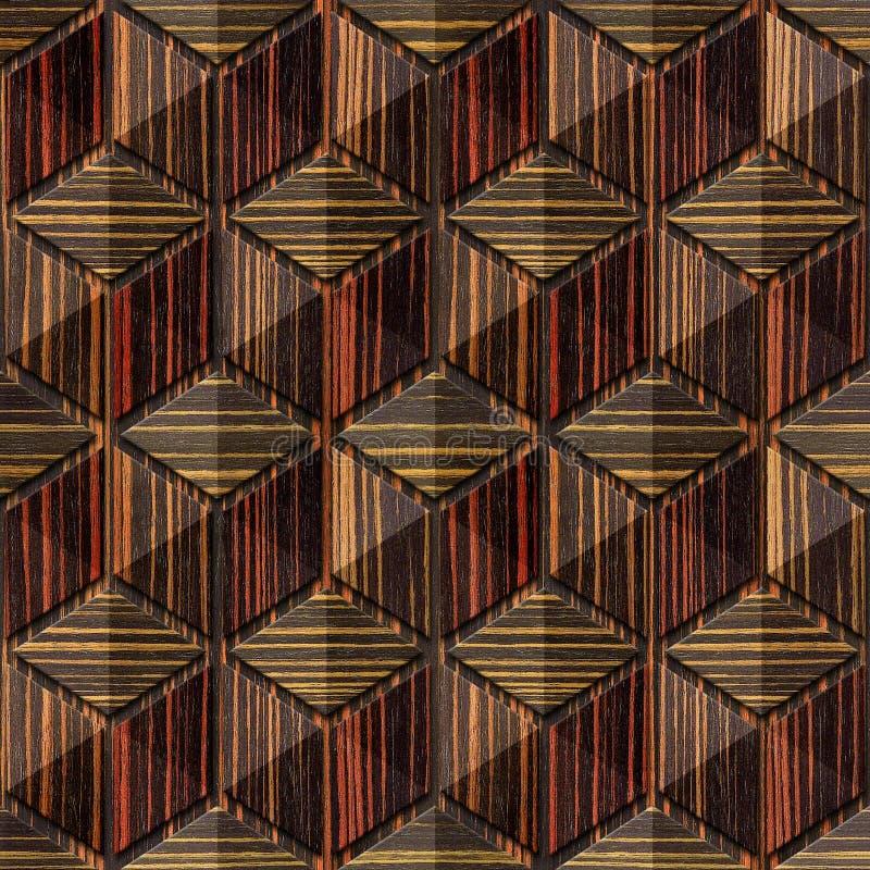 Abstrakcjonistyczny w kratkę wzór hebanu drewno - bezszwowy tło - royalty ilustracja